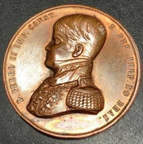 Medalha de Bronze - D. Pedro II Pedra Fundamental Hospital da Santa Casa - Numismática Vieira