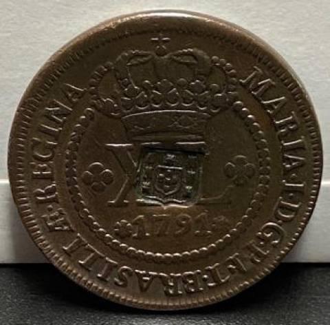 Catálogo Vieira Nº 307 - XL Réis c/c escudete 1791 - Numismática Vieira