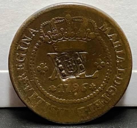 Catálogo Vieira Nº 308 - XL Réis c/c escudete 1796 - Numismática Vieira