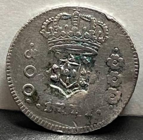 Catálogo Vieira Nº 174 - 300 Réis 1771R com carimbo de Escudete - Série J - Numismática Vieira