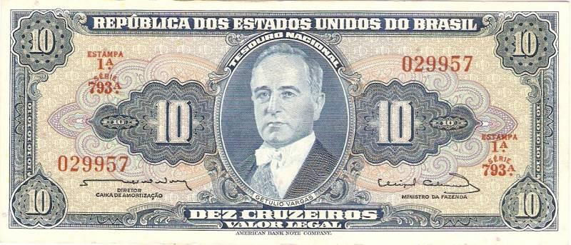 Catálogo Vieira Nº 020 - 10 Cruzeiros  (1º Estampa) (Getúlio Vargas) - Numismática Vieira