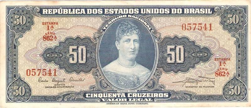 Catálogo Vieira Nº 028 - 50 Cruzeiros  1º Estampa (Príncesa Isabel) - Numismática Vieira