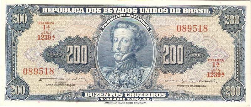 Catálogo Vieira Nº 042 - 200 Cruzeiros  1º Estampa (D.Pedro I) - Numismática Vieira