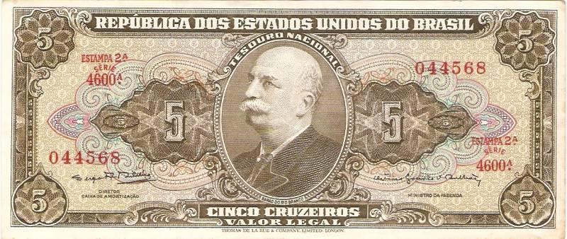 Catálogo Vieira Nº 074 B - 5 Cruzeiros  (2º Estampa) (Barão do Rio Branco) - Numismática Vieira