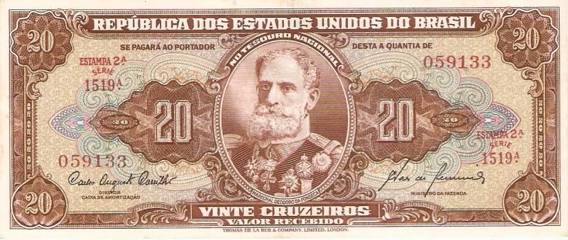 Catálogo Vieira Nº 087 - 20 Cruzeiros (2º Estampa) (Marechal Deodoro da Fonseca)  - Numismática Vieira