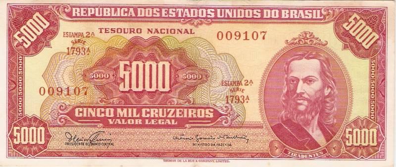 Catálogo Vieira Nº 110 - 5000 Cruzeiros  (2º Estampa) (Tiradentes) - Numismática Vieira