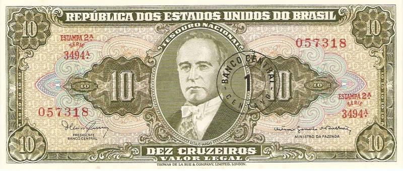 Catálogo Vieira Nº 114 - 10 Cruzeiros C/C de (1 Centavo)  (2º Estampa) (Getulio Vargas) - Numismática Vieira
