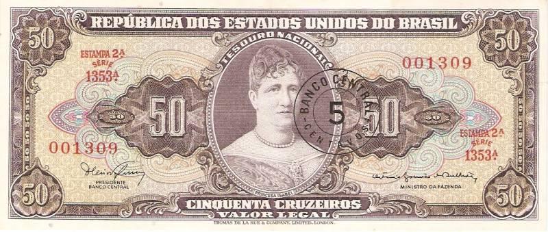 Catálogo Vieira Nº 116 - 50 Cruzeiros C/C de (5 Centavos)  (2º Estampa) (Princesa Isabel)