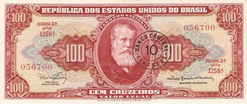 Catálogo Vieira Nº 118 - 100 Cruzeiros C/C de (10 Centavos)  (2º Estampa) (D.Pedro II)  - Numismática Vieira