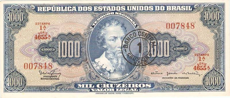 Catálogo Vieira Nº 121 - 1000 Cruzeiros C/C de (1 Cruzeiro Novo)  (Pedro Alvarez Cabral) - Numismática Vieira