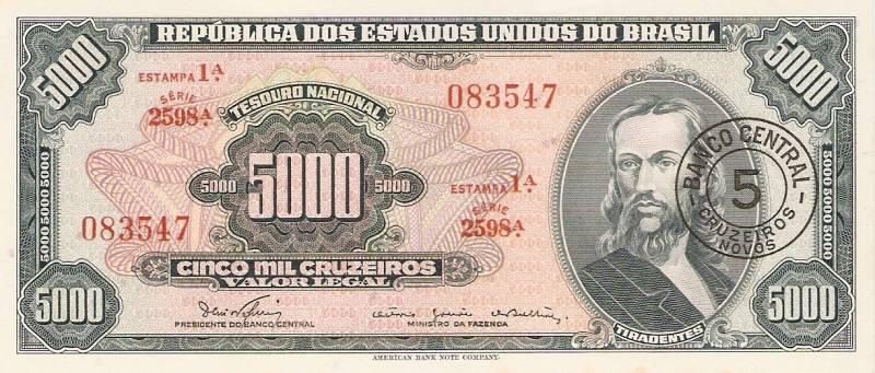 Catálogo Vieira Nº 123 - 5000 Cruzeiros C/C de (5 Cruzeiros)  (2º Estampa) (Tiradentes) - Numismática Vieira