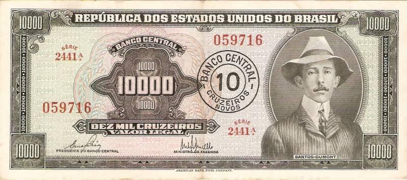 Catálogo Vieira Nº 126 - 10000 Cruzeiros C/C de (10 Cruzeiros Novos)  (Santos Dumont) - Numismática Vieira
