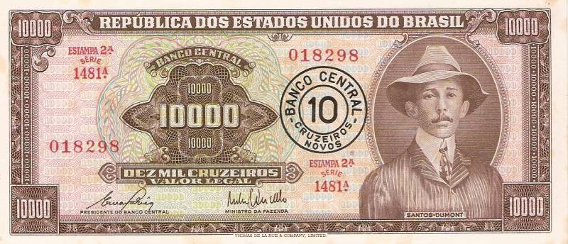 Catálogo Vieira Nº 128 - 10000 Cruzeiros C/C de (10 Cruzeiros novos) (Santos Dumont) - Numismática Vieira