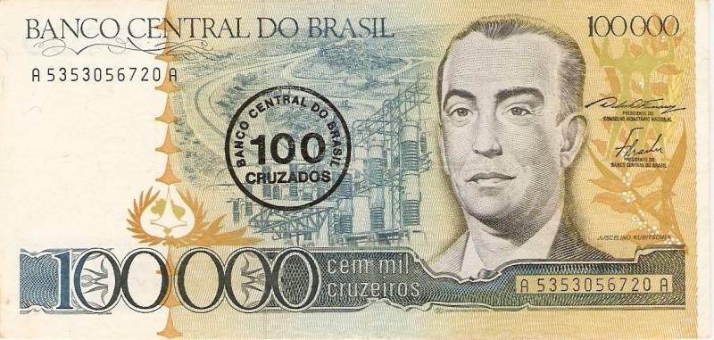 Catálogo Vieira Nº 179 - 100.000 Cruzeiros C/C de (100 Cruzados)  (Juscelino Kubitschek) - Numismática Vieira