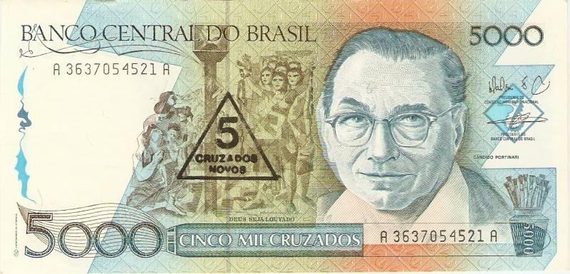 Catálogo Vieira Nº 201 - 5000 Cruzados C/C de (5 Cruzados Novos) (Candido Portinari) - Numismática Vieira
