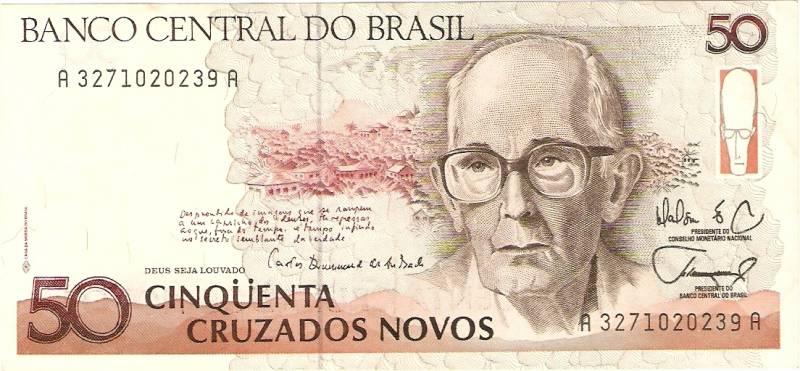Catálogo Vieira Nº 204 - 50 Cruzados novos  (Carlos Drumond de Andrade) - Numismática Vieira