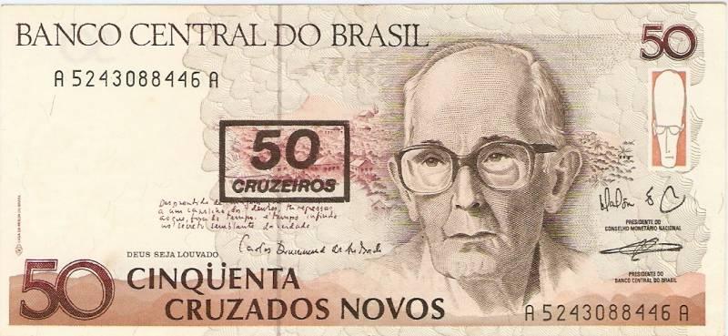 Catálogo Vieira Nº 210 - 50 Cruzados novos C/C de (50 Cruzeiros) (Carlos Drumond de Andrade) - Numismática Vieira