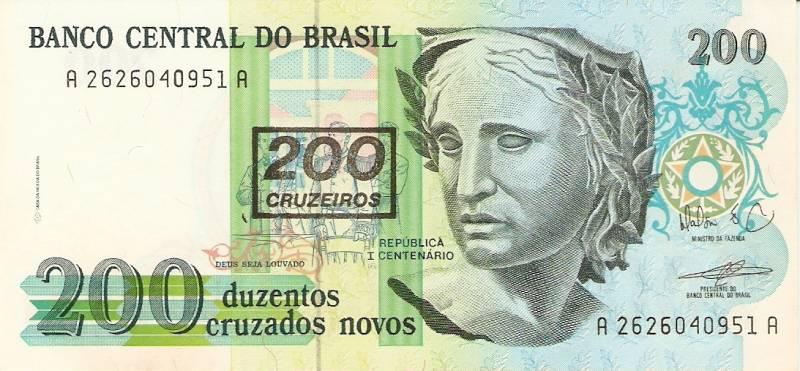 Catálogo Vieira Nº 212 - 200 Cruzados novos C/C de (200 Cruzeiros) (Efígie da República) - Numismática Vieira