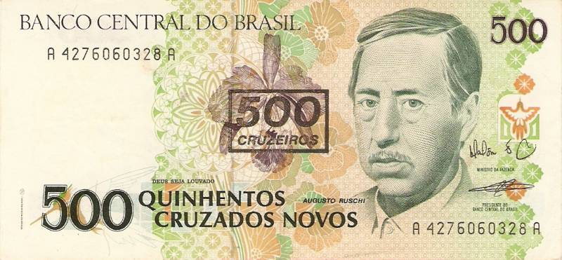 Catálogo Vieira Nº 213 - 500 Cruzados novos C/C de (500 Cruzados) (Augusto Rushi) - Numismática Vieira