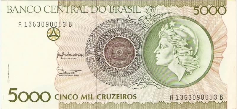 Catálogo Vieira Nº 222 - 5000 Cruzeiros (Efígie da República) - Numismática Vieira