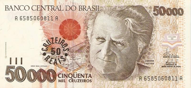 Catálogo Vieira Nº 234 - 50.000 Cruzeiros C/C de (50 Cruzeiros Reais) (Câmara cascudo) - Numismática Vieira