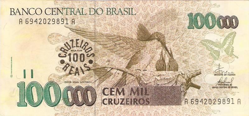 Catálogo Vieira Nº 235 - 100.000 Cruzeiros C/C de (100 Cruzeiros Reais) (Beija Flor) - Numismática Vieira