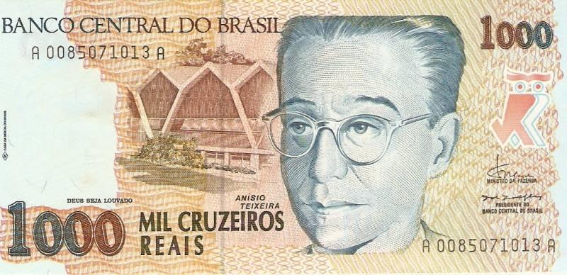 Catálogo Vieira Nº 238 - 1000 Cruzeiros Reais  (Anísio Teixeira) - Numismática Vieira