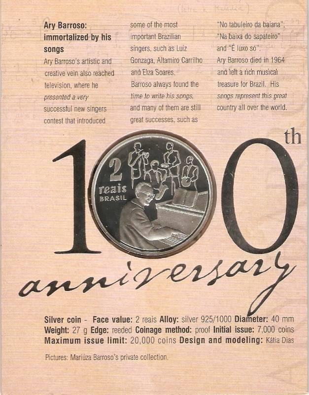 Catálogo Vieira Nº 606 - 2 Reais (Homenagem ao Centenário de Ary Barroso) - Numismática Vieira