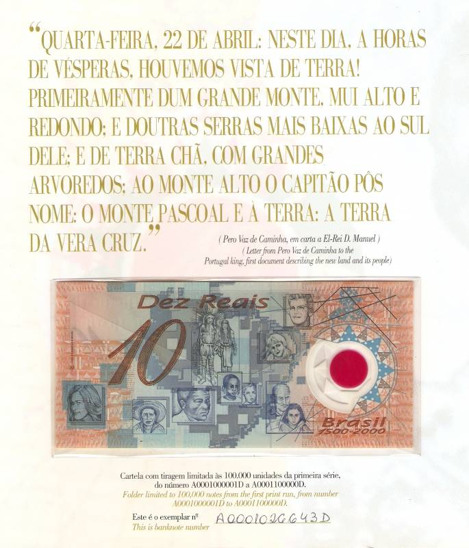 Cédula de 10 Reais de Plástico na cartela - Numismática Vieira