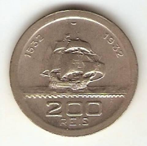 Catálogo Vieira Nº 124 - 200 Réis (Série Vicentina - Caravelas)  (Níquel) - Numismática Vieira