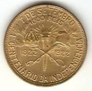 Catálogo Vieira Nº 1 - 1000 Réis (1º Cent. Ind. do Brasil) (D. Pedro I e Epitácio Pessoa) | Numismática Vieira