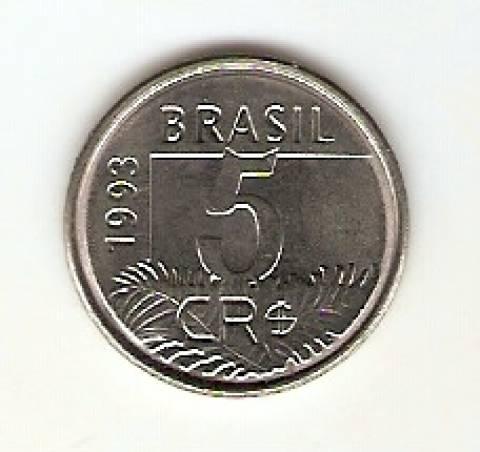 Catálogo Vieira Nº 1 - 5 Cruzeiros Reais (Arara)(Reforma Monetária) (Aço)