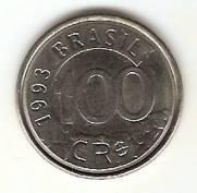 Catálogo Vieira Nº 7 - 100 Cruzeiros Reais (Lobo Guará) (Reforma Monetária) (Aço) | Numismática Vieira