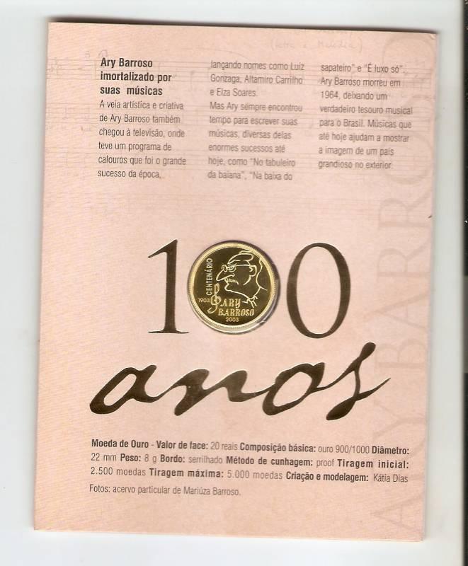 Catálogo Vieira Nº 728 - 20 Reais (Centenário de Ary Barroso) Ouro - Numismática Vieira