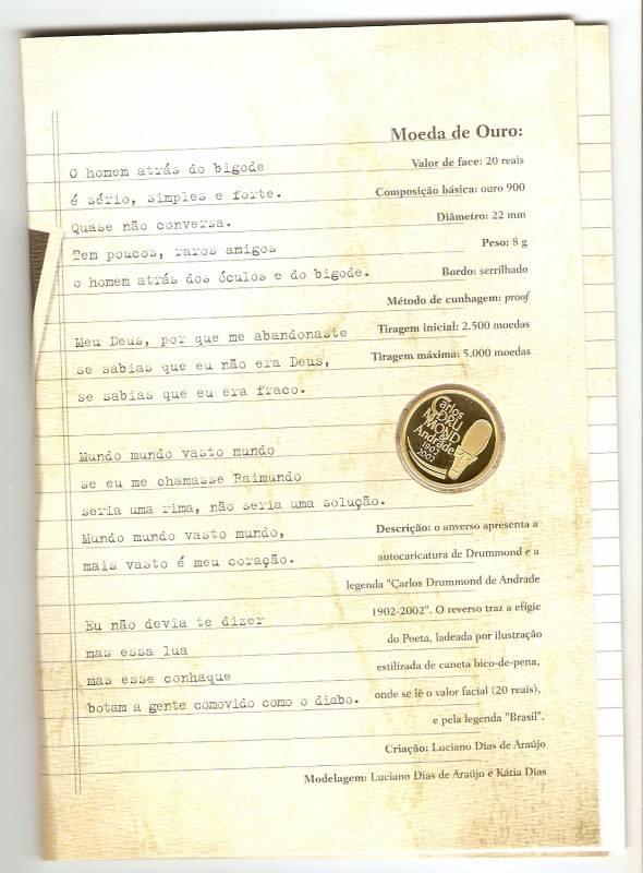 Catálogo Vieira Nº 727 Homenagem ao Centenário de Carlos Drummond de Andrade - Ouro - Numismática Vieira