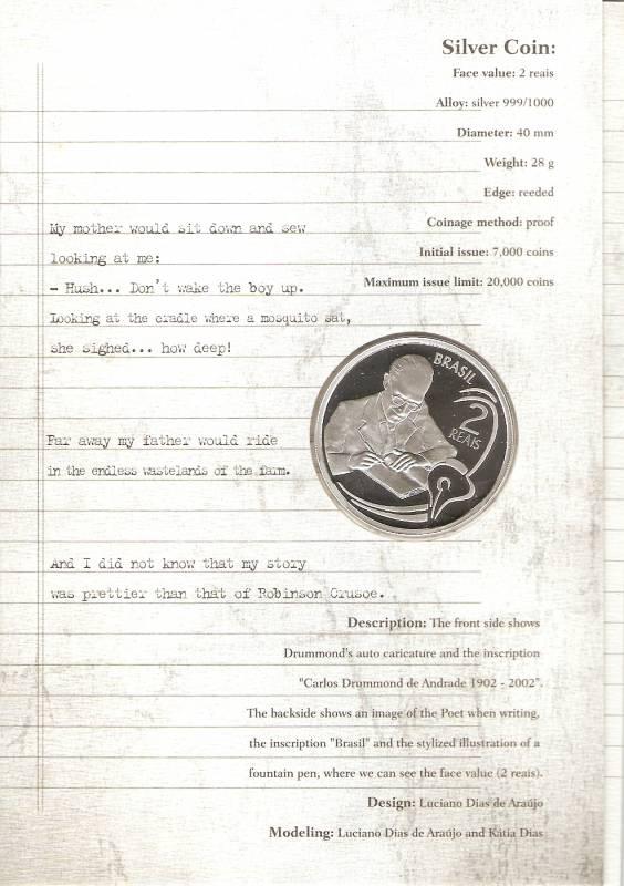Catálogo Vieira Nº 605 - 2 Reais (Homenagem ao Centenário de Carlos Drumand de Andrade) - Numismática Vieira