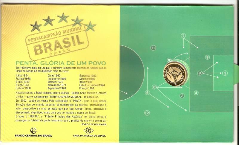Catálogo Vieira Nº 726 - 20 Reais (Homenagem ao Pentacampeonato de Futebol) Ouro - Numismática Vieira