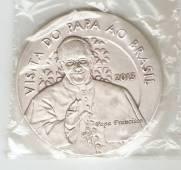 Medalha de Prata Comemorativa a Visita do Papa Francisco ao evento da JMJ no Rio de Janeiro