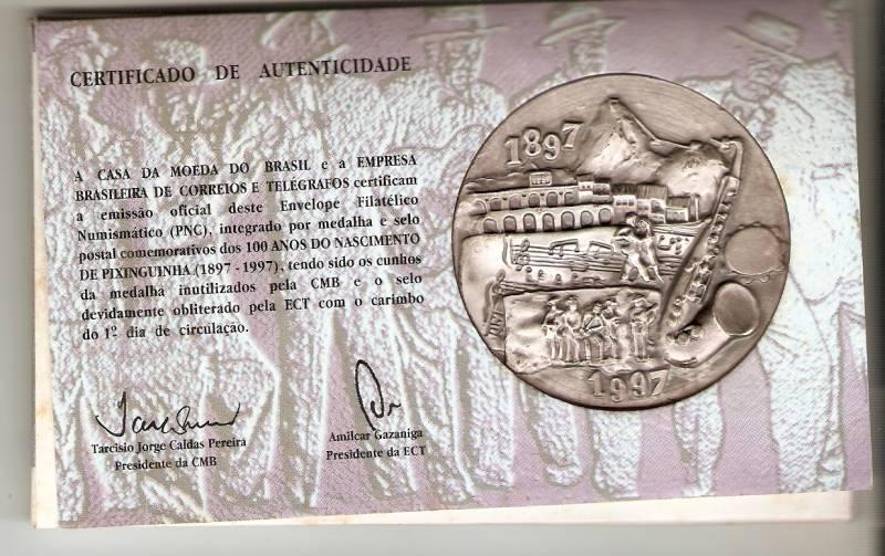 Medalha de Prata Comemorativa aos 100 Anos do Nascimento do Pixinguinha. - Numismática Vieira