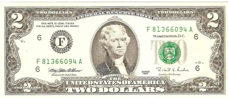Nota Original de 2 Dollars - Carimbo Verde  - Numismática Vieira