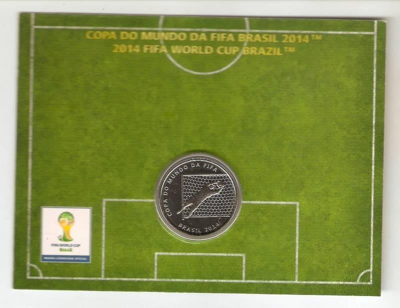 Moeda de Níquel Comemorativa Oficial da Copa do Mundo Brasil 2014 - A DEFESA GOLEIRO - Numismática Vieira