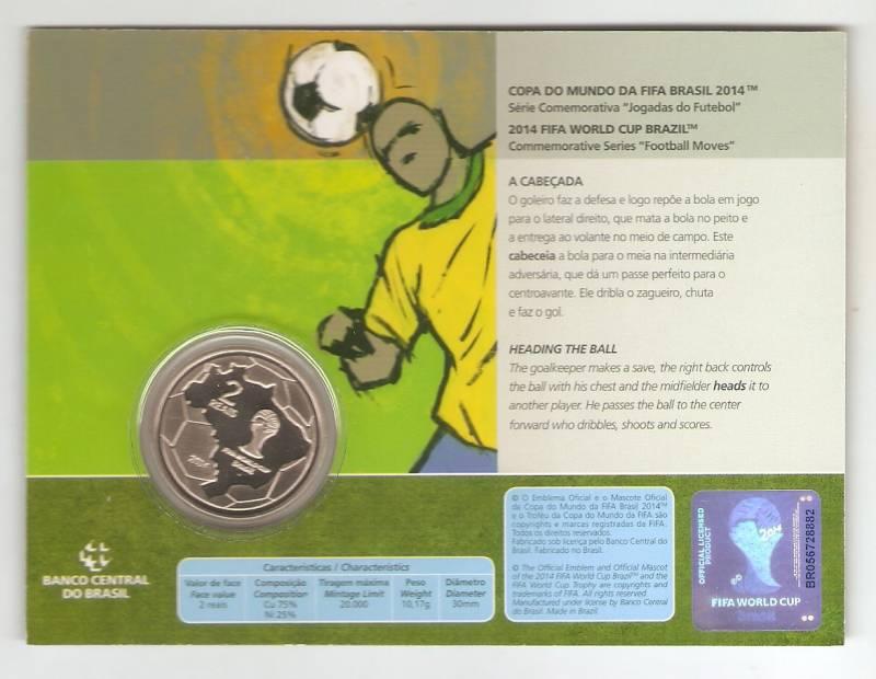 Moeda de Níquel Comemorativa Oficial da Copa do Mundo Brasil 2014 - A CABEÇADA - Numismática Vieira