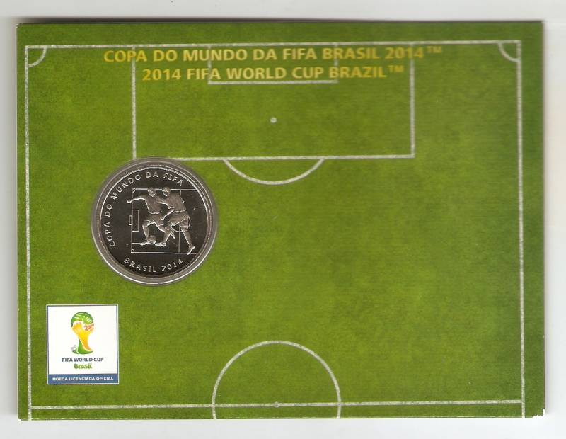 Moeda de Niquel Comemorativa Oficial da Copa do Mundo Brasil 2014 - O DRIBLE - Numismática Vieira