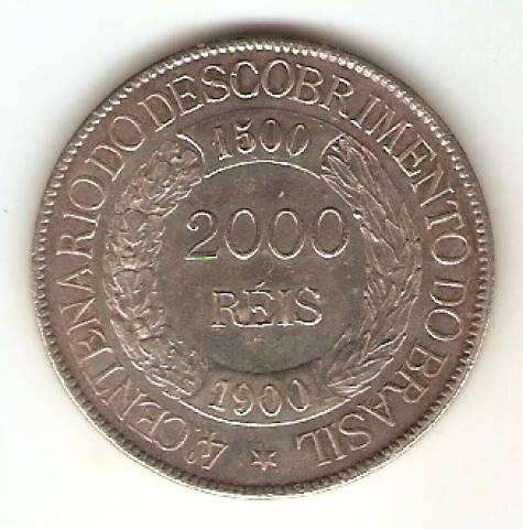 Catálogo Vieira Nº 548 2.000 Réis 1900 - 4º Centenário do Descobrimento do Brasil. - Numismática Vieira