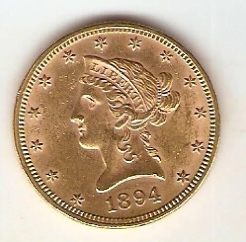 Moeda de Ouro 10 Dollars - Liberty - Numismática Vieira