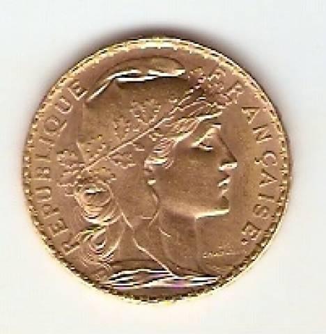 Moeda de Ouro 20 Francos Francês. - Numismática Vieira