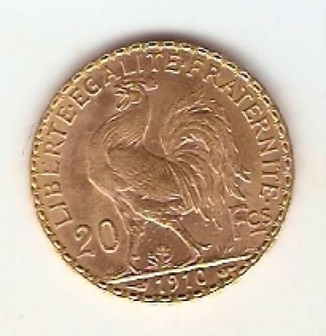 Moeda de Ouro 20 Francos Francês.