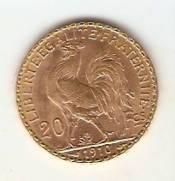 Moeda de Ouro 20 Francos Francês. | Numismática Vieira
