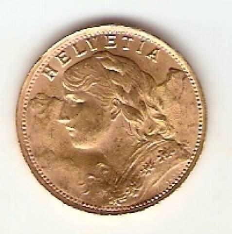 Moeda de Ouro 20 Francos Suíço. - Numismática Vieira
