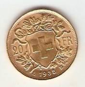 Moeda de Ouro 20 Francos Suíço.